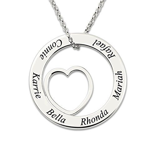 Customized Engraved Silver Love Circle Necklace Personalized Family Name Necklace Heart Pendant Necklace (Silver - Necklace Pendant Heart Circle Gold