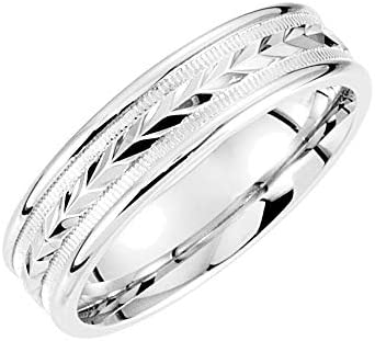 Bonyak Jewelry Platinum 6mm Wheat Design Band with MilgrainSize 5