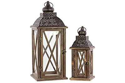Urban Trends Wood Square Lantern with, Black Pierced Metal Top, Ring Hanger and Glass Windows, Natural Wood Finish, Set of 2