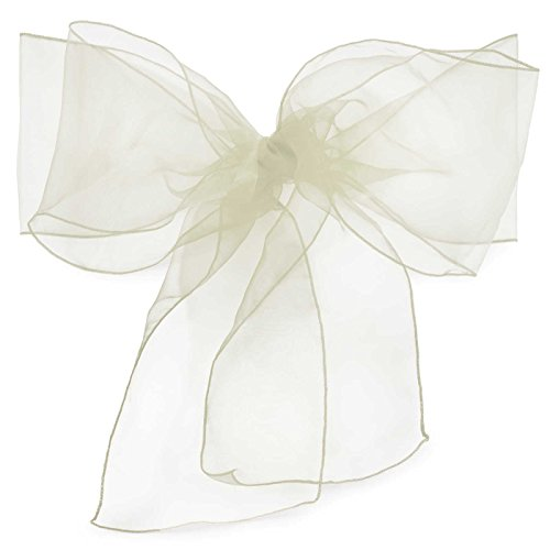 Lanns Linens 10 Elegant Organza Wedding/Party Chair Cover Sashes/Bows - Ribbon Tie Back Sash - Ivory (Bows Tulle Pew)