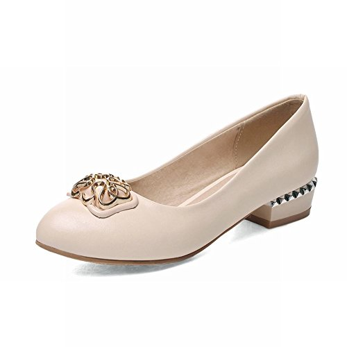 Latasa Womens Fashion Round-toe Chunky Low-heel Casual Pumps Shoes Beige NgbFR
