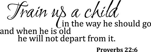 Newclew Train up a Child in The Way he Should go, and When he is Old he Will not Depart from it. - Proverbs 22:6 Wall Art Sayings Sticker Décor Decal Prayer Church Jesus Pray ((M) 29''x10'') (Proverbs Train Up A Child In The Way)