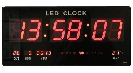 Reloj de pared digital LED Cuarzo Fecha temperatura Bar Cafetería Kiosko XXL: Amazon.es: Hogar