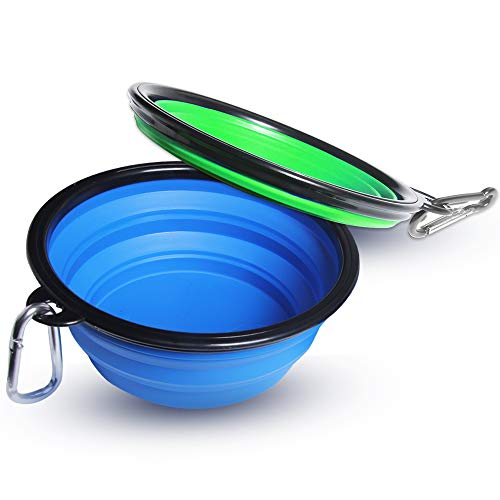HLL 34oz Collapsible Dog Bowl, 2-Pack Extra Large Size Pet Travel Bowl, FoodGradeSiliconeBPAFree, Foldable & Expandable Cup for Cat Feeding, Pet Feeding Watering Bowl with Carabiner Clip