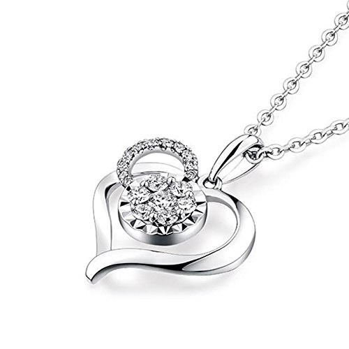 Beydodo Women Necklace,18k Real White Gold 1.06g Heart Convergence of Love Round Diamond Necklace by  (Image #1)