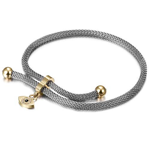CIUNOFOR Evil Eye Bracelet for Women Girls Italian Style CZ Charm Mesh Bracelet with Adjustable 10.24 Inches Chain Link(evil eye)