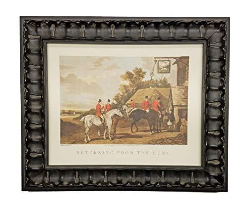 English Hunt Scene - TheShoppe-USA Returning from The Hunt - English Fox Hunt Scene Picture - Beagle Horses Bugles Creek - Antique Silver Frame