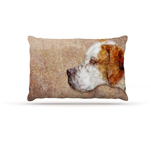 Kess InHouse Ancello Abstract Beagle  Geometric Fleece Dog Bed, 50 by 60 , Brown