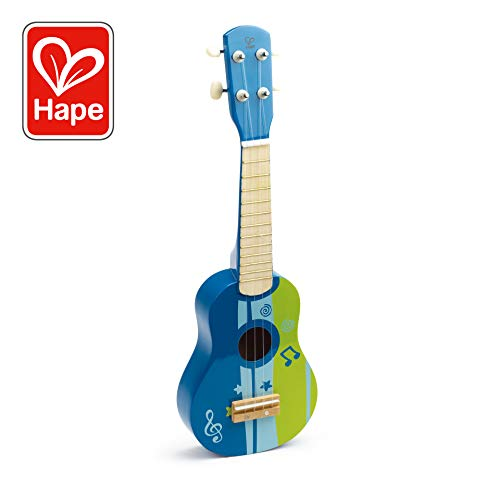 Hape Kid's Wooden Toy Ukulele in Blue (Kids Toy Guitar)