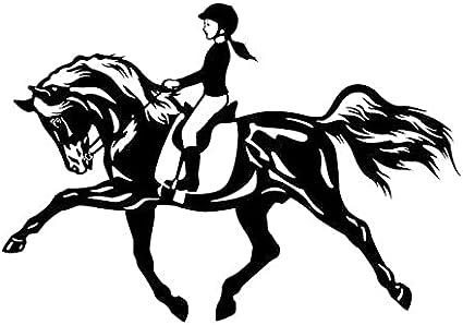 Uofr Pegatinas de coche decoración motocicleta calcomanías montar un caballo saltando deporte chica accesorios decorativos creativos impermeable PVC, 17 cm x 11 cm