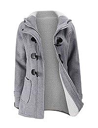 Women Hoodie Zipper Horn Button Wool Coat Parka Jacket Outerwear