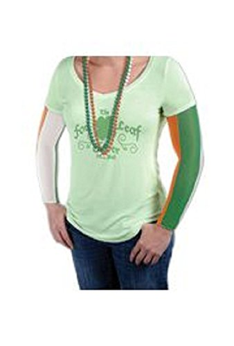 Mardi Gras Irish Party Arm Sleeves/ Fake Tattoo Temporary (fake) tattoo - Irish Party Sleeves in orange, white, and green Ireland national flag (Irish Flag Tattoos)