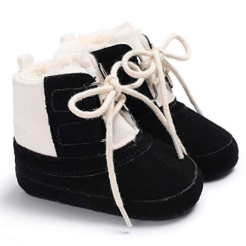 m Plush Laces Non-Slip Soft Sole Shoes Unisex Baby Prewalke Shoes Newborn Infant Toddler Boots (12-18 Months, Black) ()