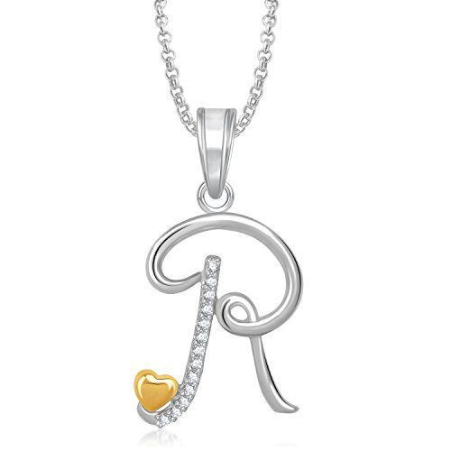 Meenaz Silver Plated 'R' Letter Pendant Locket Alphabet With Chain For Men And Women Ps337