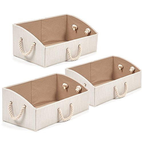 Set of 3 Large Storage Bins EZOWare Foldable Fabric Trapezoid Organizer Boxes with Cotton Rope Handle, Collapsible Basket for Shelves, Closet, Baby Toys, Diaper (Beige)
