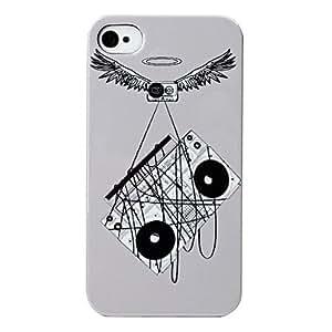 TY-Wings Grabadora patrón duro caso para iPhone 4 y 4S