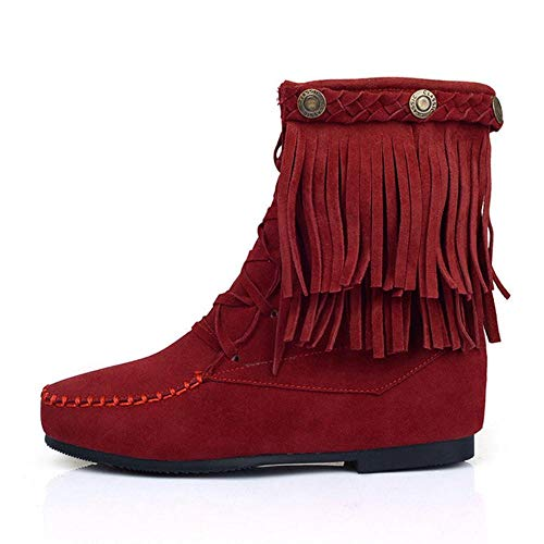 Rojo Interior Vino Cremallera Mujer Cuña Botas Flecos Coolcept WBxavZnB