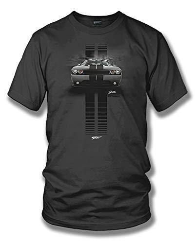 Dodge Challenger Stripes- Muscle Car T-Shirt - Challenger t-Shirt - XL Grey