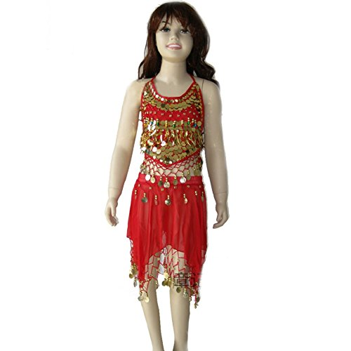 [Kid's Belly Dance Girl Halter Top skirt costume One Size for 5-10 Years (Red)] (Fusion Belly Dance Costumes)