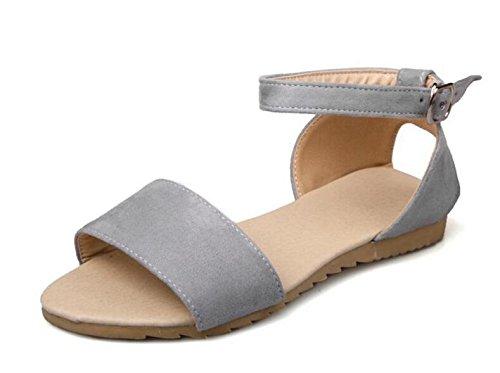 GLTER Mujeres Peep Toe tobillo Strap bombas simples zapatos planos para llevar sandalias ocasionales de gran tamaño 40-43 zapatos , grey , 37 37|grey