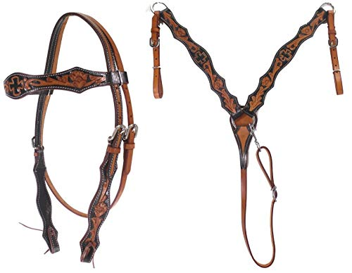 - D.A. Brand Antique Brown/Black Tooled Headstall Breast Collar Set Horse Tack