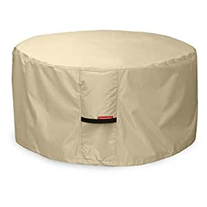 "Porch Shield 600D Heavy Duty Patio Round Fire Pit/Table Cover, 50""D x 24""H,100% Waterproof"