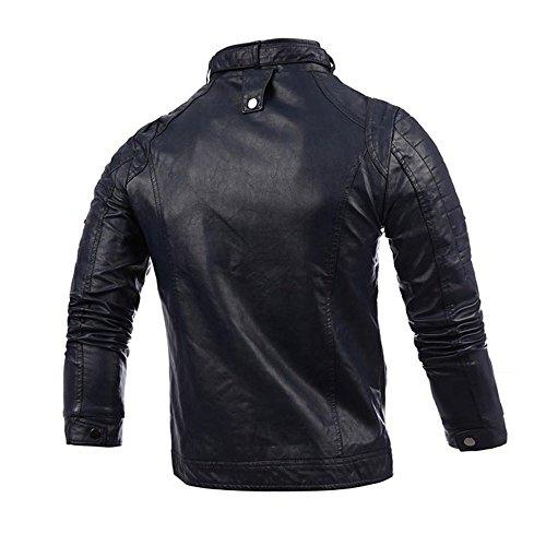 Taille Manteau À Jacket Casual La Vestes Respirant Longues Pu Chaud En A Bleu Homme Cher Marine Hiver Cuir Zippé Moto Manche Mode Slim Grand Pas rCx8qrOA