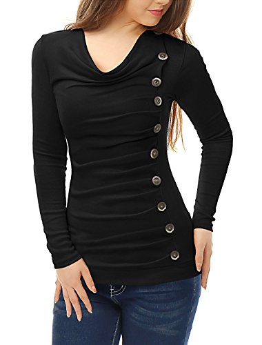 Allegra K Women's Cowl Neck Long Sleeves Buttons Decor Ruched Top Black S