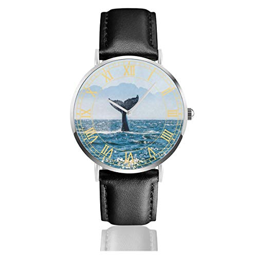 Whale Tail Women Simple Ultra-Thin Watches Business Analog Stainless Steel Quartz Watches with Leather Strap - Tail Polished Whale