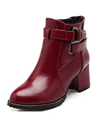 DoraTasia Women's Fashion Rivet Chunky Heel Buckle Ankle Boots Chealse Boots Punk Shoes
