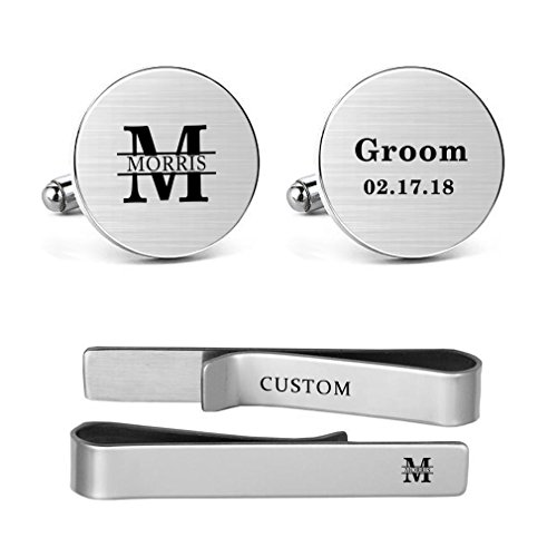MUEEU Wedding Cufflink Engraved Name and Date Monogram Round Square Men Groom Groomsman Tie Clip Bar (Round Cufflinks and 1 Tie (Personalized Square Cufflinks)