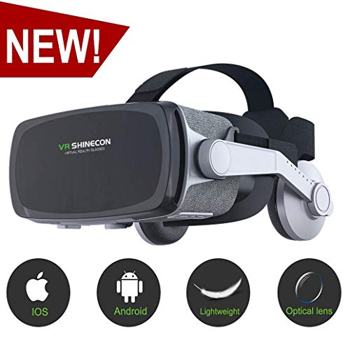 [New Version ]VR Headset,Virtual Reality Headset,VR SHINECON VR Goggles for TV, Movies & Video Games - 3D VR Glasses for Iphone, Android and Other Phones Within 4.7-6.2 inch ()