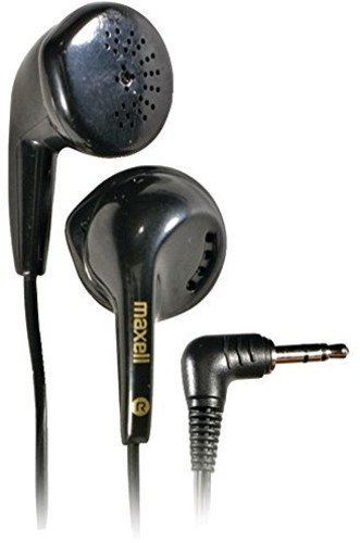 Maxell 190560 Lightweight Extended Use Anisotrophic Ferrite Magnet Driver Dynamic Sound Reproduction Stereo Ear Bud - Black (Value)