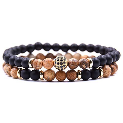 Disco Ball Keyrings - 2Pc/Sets Natural Stone Bracelet Men Micro