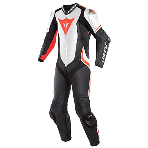 Dainese Laguna Seca 4 Perforated Leather One-Piece Suit (50) (BLACK/WHITE/FLUORESCENT RED)