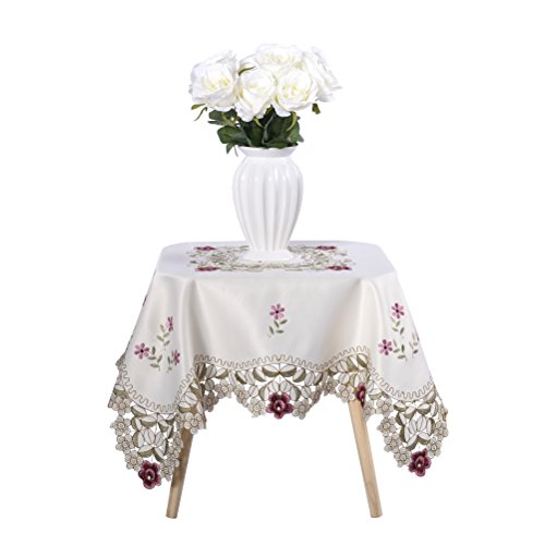 Embroidered Square Tablecloth - Damask rose red little plum embroidered beige tablecloth square 32 inch approx
