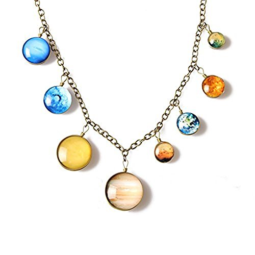 8 Planet Pendant Necklaces for Women - Solar System Double-Sided Handmade Steel Chain Cross Necklace (Style2)