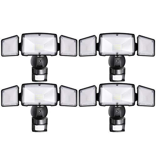 4 Pack 3-Head LED Security Lights Motion Outdoor, Motion Sensor Light Outdoor, 40W 3500 Lumens, 5000K, Waterproof, IP65 ETL, Motion Activated Flood Light