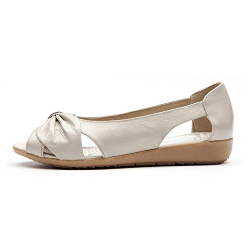 Binying Women's Bowknot Hollow Peep Toe Shallow Sandals Beige jc7oKb