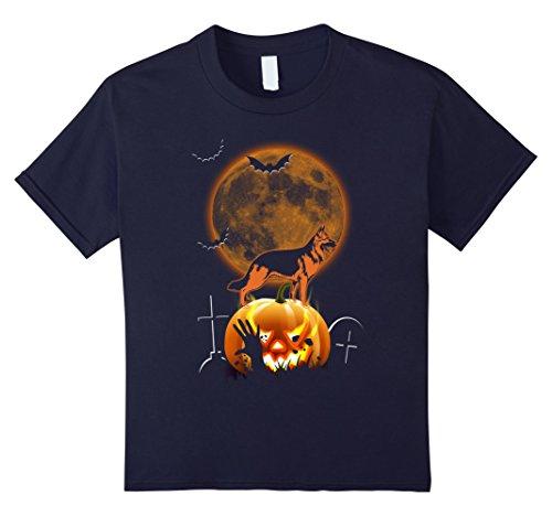 German Shepherd Spider Costume (Kids BatDog Halloween Tee Dog Bat German Shepherd Pumpkin Shirt 12 Navy)