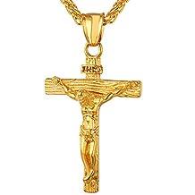 U7 Christian Jewelry 18K Gold Plated Crucifix Jesus Cross Pendant Necklace