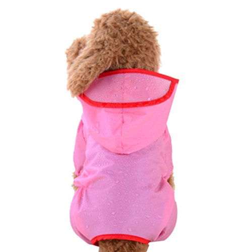 (Alalaso Pet Apparel,Rainwear Pet Hooded Waterproof Jacket Raincoat Clothes Pet Dog Puppy (XS, Pink))