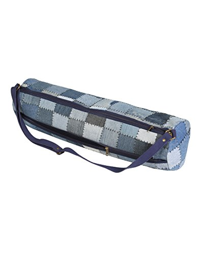 Casual Yoga Mat Bag Cotton  Denim Blue Patchwork Checkered By Rajrang