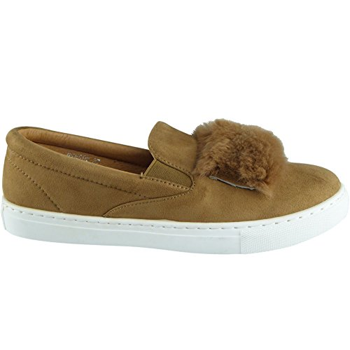 New Womens Ladies Trainers Faux Suede Slip On Flat Fur Sneakers Pumps Shoes Size 3-8 Tan Yiz2v65