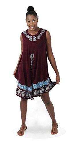 Batik Africane Unica Stampa Nero Vestito Turchese Maniche Ombrello Taglia Bianco Marrone Donne Delle A6qTWUfw
