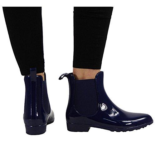 8 RAIN Shoes Wellington 3 Womens Chelsea Flat Winter Ankle Wellies Size Blue Boots Ladies q4wT7AxE
