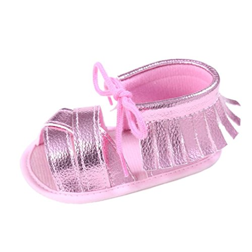 Zapatos de bebé, Switchali Recién nacido bebe niña verano Princesa zapatos Niñas Cuna Suela blanda Antideslizante Zapatillas borla vestir casual Calzado de deportes Sandalias Rosado