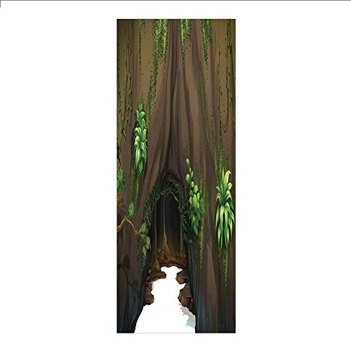 3D Decorative Film Privacy Window Film No Glue,Nature,Tree Cave Surrounded with Moss Woodland Green Fantasy Secret World Cartoon,Fern Green Chocolate,for Home&Office