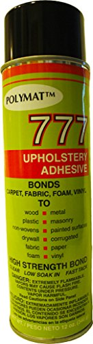 1 20oz Can Polymat 777 Aerosol Spray Glue Fast Tack Adhesive for Upholstery, Foam, Speaker Box Carpet, Car Auto Liner and Fabric, Multi-Purpose Adhesive (Fast Tack Adhesive Spray)