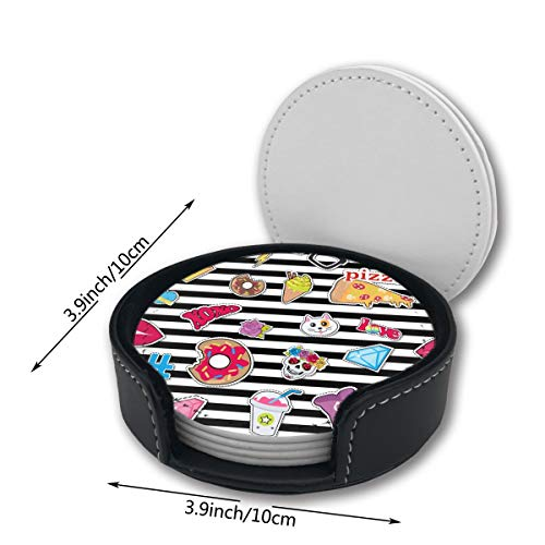 - YETTA YANG Pizza Shoe Stripes Skull Cat Cute Food Printed Pu Leather Car Coasters Girls Boy Kids Round Circle Holder Table Desk Mug Mats of 6 Piece Pc Set Decor Ornament Decorations Home Party Gift